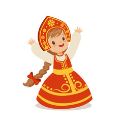 Cute girl wearing red sarafan and kokoshnik vector