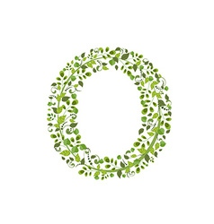 Spring green leaves eco letter o vector