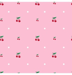 Cherry seamless pattern food background vector