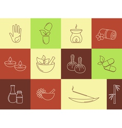 Spa ayurveda and beauty treatment icons set vector
