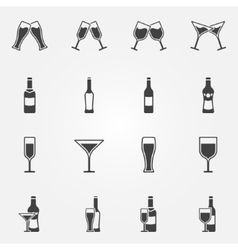 Drink alcohol icons vector