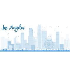 Los angeles skyline with blue buildings vector