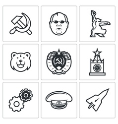 Soviet union icons vector