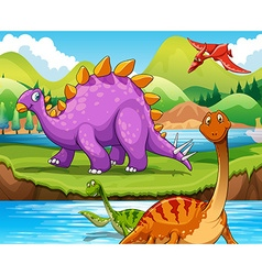 Dinosaurs living by the river vector
