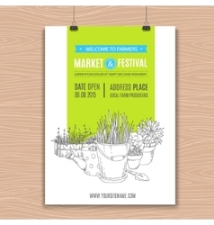Poster with potted plants vector