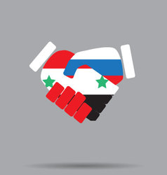 Symbol sign handshake syria and russia vector