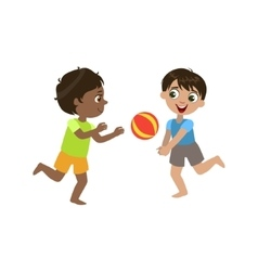 Boys playing volleyball vector