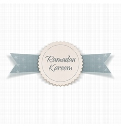 Ramadan kareem realistic emblem with ribbon vector