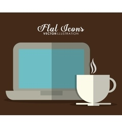 Laptop and mug icon office instrument design vector