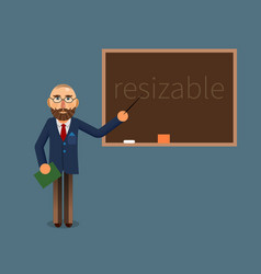 A teacher and chalkboard vector
