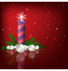 Abstract red background with Christmas decorations vector image vector image