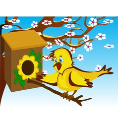 bird in the birdhouse near a flowering tree vector image vector image