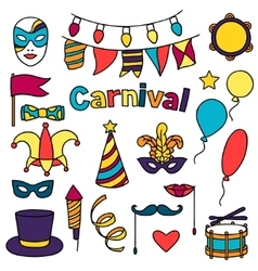 Carnival show set of doodle icons and objects vector
