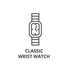 classic wrist watch line icon outline sign vector image
