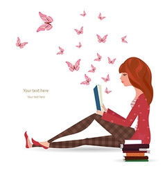Cute girl is reading a book vector image