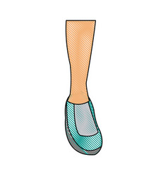 drawing feet sneaker sport shoe design icon vector image