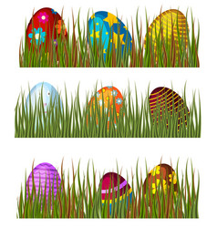 Easter eggs in green grass spring colorful vector