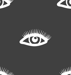 eyelashes sign Seamless pattern on a gray vector image
