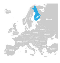 finland marked by blue in grey political map of vector image