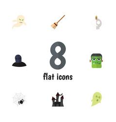 flat icon halloween set of fortress broom vector image