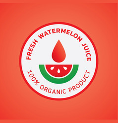 fresh watermelon juice round logo vector image vector image