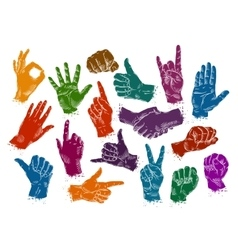 Hands icons set isolated on white background vector