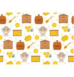honey seamless pattern beekeeping endless vector image vector image