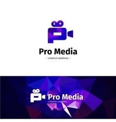 Low poly camera logo media business p vector