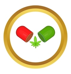 Marijuana capsule pill icon vector