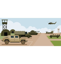Military base camp side view vector