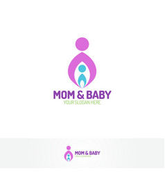 mom and baby logo vector image vector image