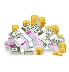 Money banknotes and coins Money euro and dollars vector image vector image