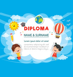 of preschool kids diploma vector image