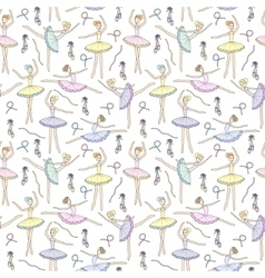 Seamless pattern with dancing ballerinas on a vector image