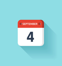 September 4 Isometric Calendar Icon With Shadow vector image vector image