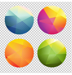 set of color origami spheres vector image vector image