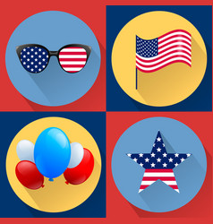 Set of patriotic dedicated to the fourth of july vector