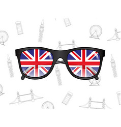 sunglasses with flags of uk on the background of vector image vector image