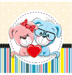 Two cute cartoon dogs vector