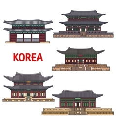 Historic temples and architecture of korea vector