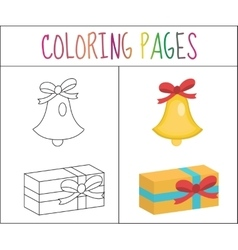 Coloring book page christmas bell gift sketch vector