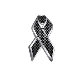 grill perforated frame of lace ribbon cancer icon vector image