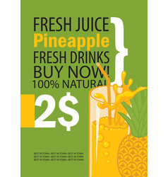 Banner with pineapple and a glass of juice vector