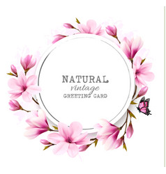 natural vintage greeting card with pink magnolia vector image