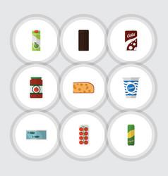 Flat icon food set of yogurt fizzy drink vector