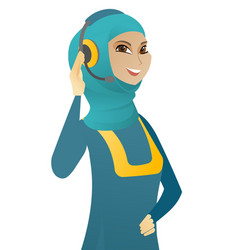 Young muslim customer service operator in headset vector