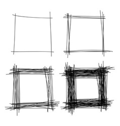 Set of hand drawn scribble squares design elements vector