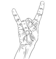 Rock on hand sign rock n roll hard rock heavy vector