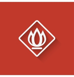 Sign fire on red background vector