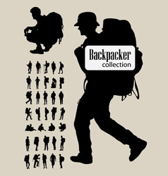 Backpacker silhouettes vector